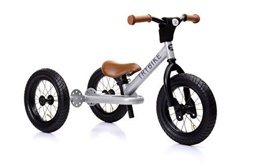 Trybike Steel Dreirad / Laufrad / Kinderlaufrad Silber aus Stahl mit braunem Sattel und Griffen - Lauflernrad, Kinder Lernlaufrad, Lauffahrrad, Lern Fahrrad ab 1 Jahre - 101x50x55 cm