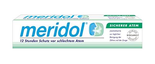 Zungenschaber Mundgeruch (meridol SICHERER ATEM Zahnpasta, 2er Pack (2 x 75 ml))