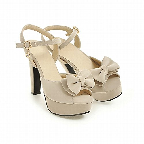Mee Shoes Damen high heels Schleife Plateau Sandalen Beige