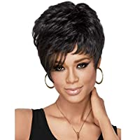 الأوروبية والأمريكية أزياء سوداء شعر مستعار قصير الشعر منفوش الشعر القصير في سن المراهقة M19-310