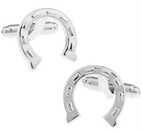 Cufflinks Direct Horseshoe Silver Shirt Cufflinks of Good Luck (Gift of Horse Shoe Racing Bets) (Cufflinks with Gift Bag)
