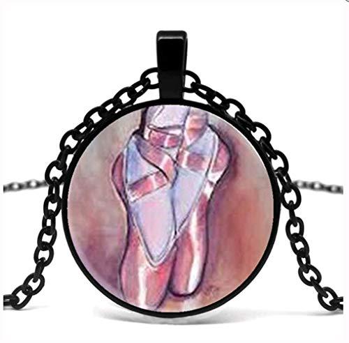 VAWAA Ballett Mädchen Halskette Ballett Schuhe Hausschuhe Tanz Schuhe Halskette Frauen Männer Tanz Ballett Glas Anhänger Halskette. (Mädchen Glas Hausschuhe Kleines)