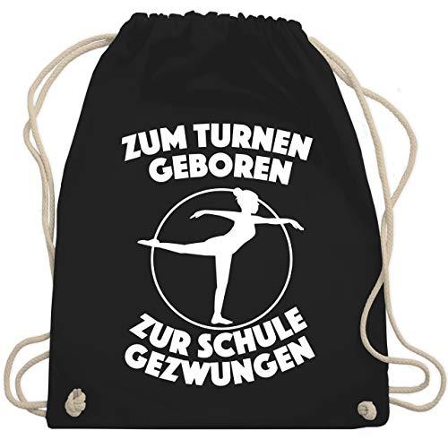 Sonstige Sportarten - Zum Turnen geboren Zur Schule gezwungen - Unisize - Schwarz - WM110 - Turnbeutel & Gym Bag