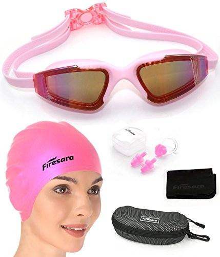 firesara Badekappe Schwimmbrille Set, 3D Bademütze 3D Ergonomisches Design mit Antibeschlag UV-Shutz Schwimmbrille Ohrstöpsel & Nasenklammern für Männer Frauen Kinder
