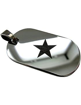 Area17 Gravur Edelstahl Dog Tag Anhänger mit Halskette - Black Star