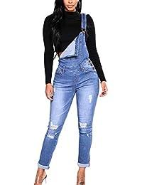 yulinge Las Mujeres Jeans Rasgado Overoles De Mezclilla Pantalones Largos  Plus Size f4bd093e27e7