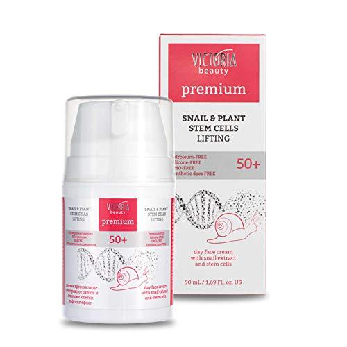 Victoria Beauty – Premium Lifting Augencreme mit pflanzlichen Stammzellen – Anti-Aging Creme mit Schneckenschleim gegen dunkle Augenringe (1 x 50 ml) – regt die Zellerneuerung auf – ab 50 Jahre