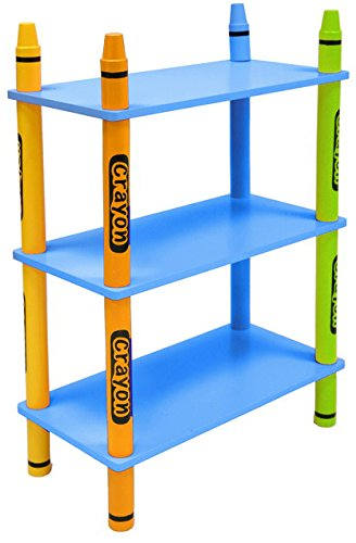 Bebe Style Childrens Wooden 3 Tiered Shelves (Blue, Crayon Themed)