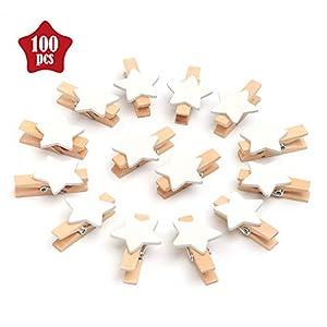 ABSOFINE 100 Stück Sternen Wäscheklammer Holz Weihnachten Holzklammern zum Foto Kleine Handwerk klammern für Party Weihnachten Dekoration Hochzeit