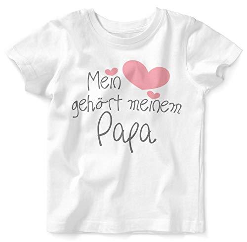Mikalino Baby/Kinder T-Shirt mit Spruch für Jungen Mädchen Unisex Kurzarm Mein Herz gehört Meinem Papa | handbedruckt in Deutschland | Handmade with Love, Farbe:Weiss, Grösse:92/98 - Herz Bio-kinder-t-shirt