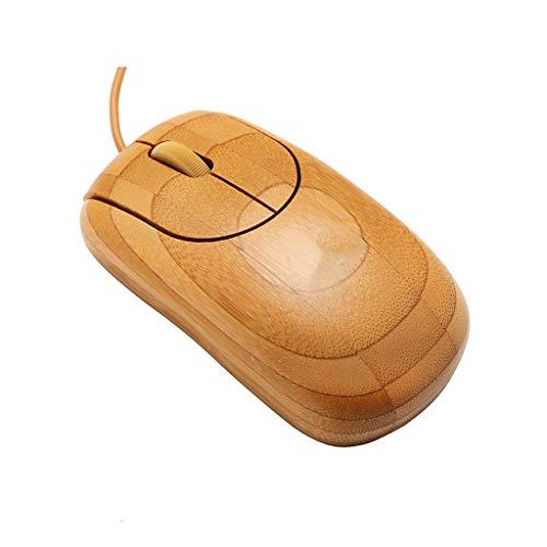 QIjinlook Wired USB-Maus Maus Mäuse handgefertigt optische aus Bambus natürlicher Handmade Bamboo kabelgebundene USB Corded Ecological Strahlenschutzmaus Computer Zubehör (Khaki)
