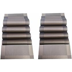 Sin Marca Lavable PVC mantel cojín para tabla de restaurante resistente al calor estera antiseslizante de tabla de color café (10 unidades)