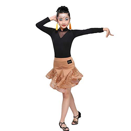 HUO FEI NIAO Latin Dance Rock Split Wettbewerb Anzug Tanzkleidung (Farbe : Brown, größe : ()