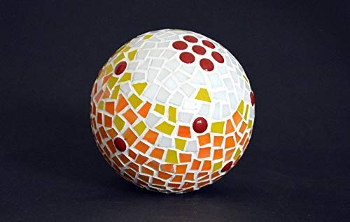 Handgemachte Mosaik Rosenkugel weiß gelb orange 13 cm