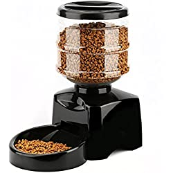 PETCUTE 5.5 LitrosLCD Automático Alimentador los Mascotas, Gatos, Perros, Temporizador de Comida Plato de Comida Auto Dispensador de Vacaciones con Grabadora de Voz Negro