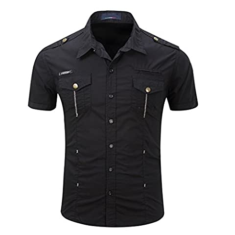 Mens Classic Short Sleeve Single Breasted Army Style Formal Shirts Sizes Regular Fit
