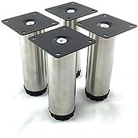 Design61Set di 4attacco piede stellfuss acciaio inox–Piedini per mobili mobili base Ø 38mm base piede tavolo piede letto piedi regolabile altezza 120–130mm
