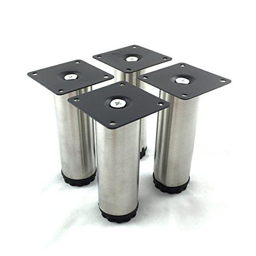 Design61Set Base piede piedino regolabile Mobili di acciaio Inossidabile piedi mobili ø 38mm Basamento Piede tavolo Piede Piedi altezza regolabile 100-115mm