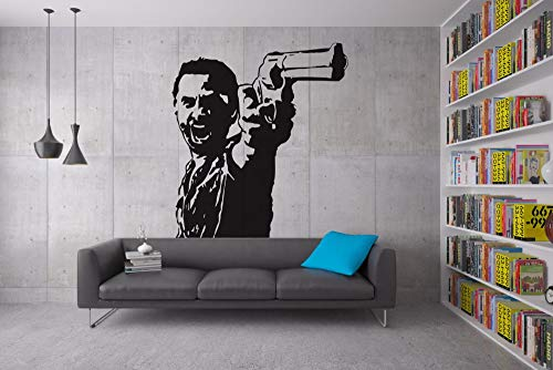 Angry Man With Gun In Hand Entworfene Wandaufkleber Home Special Decor Vinyl Coole Dekorationen Wandmalereien Man Pattern75x75cm -