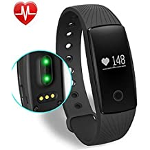 Fitness Tracker, Willful® Activity Tracker Cardio HR Bluetooth Pedometro Cardiofrequenzimetro da Polso Orologio Bracciale Fitness Watch Band Smartwatch Smart Watch per Android iOS Smartphones like iPhone Samsung Sony Huawei LG , per Sport Running Walking Donna Uomo (Contapassi, Monitor del Sonno, Notifiche APP (Whatsapp, Facebook, Skype ...), Notifiche Chiamate & SMS, Fotocamera Cattura Remota, Sveglia) - Distanza Sistema