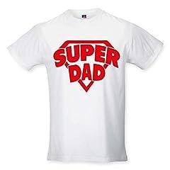 Idea Regalo - T Shirt Maglia Maglietta Idea Regalo per Il Papa'SuperDad - Stemma XL Bianca