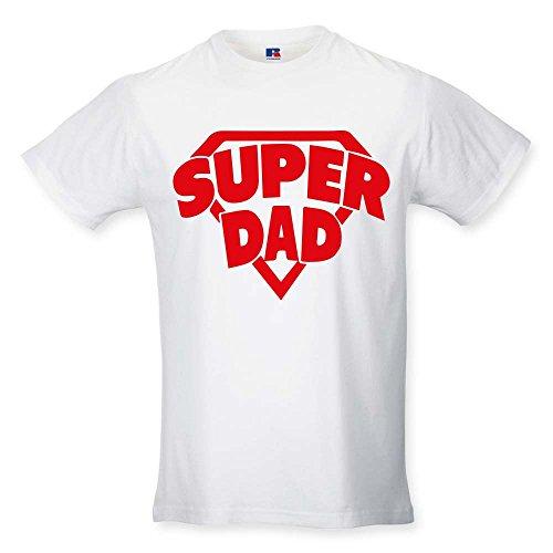 T shirt maglia maglietta idea regalo per il papa'superdad - stemma l bianca