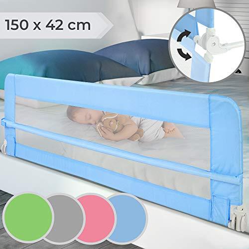 Barrera de Cama para Niños - Abatible y Portátil, Tamaño 150x42cm, Fácil Instalación, Color a Elegir - Barandilla de Protección Anticaídas para Bebés, Protector Plegable