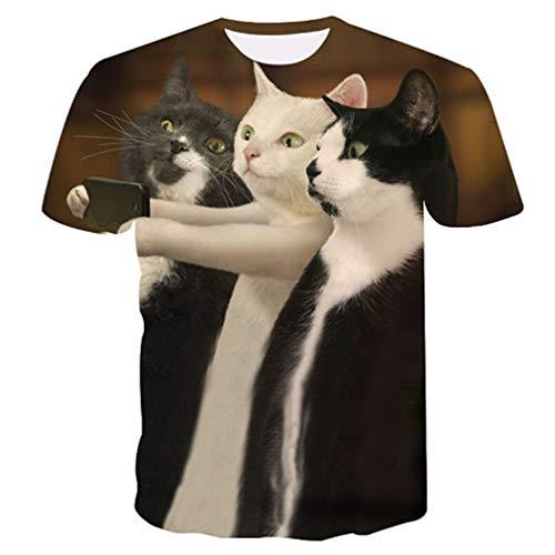 Kostüm Asian Männlich - 3D T-Shirt Männliche Kurzarm Tops 3D Weiße Katze Druck Tier T-Shirts Streetwear Hip Hop Tees Männer Tops TXU-163 Asian Size 4XL