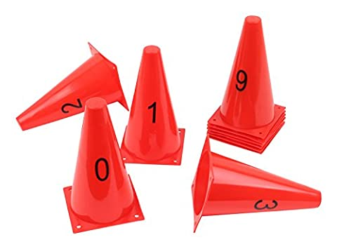 Set of 10 Numbered Agility Cones with Printed Numbers 0