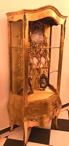 Casa Padrino Barock Vitrine Gold - Ausstellungsstück ohne Vordertür - Möbel Antik Stil