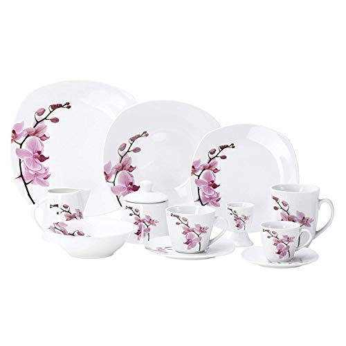 Kombiservice 62tlg. Kyoto Orchidee leicht eckig Porzellan für 6 Personen weiß mit Dekor Dinner-service-set