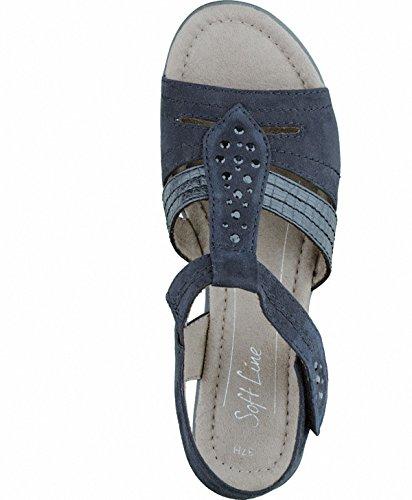 Soft Line modische Damen Sandalen black, Synthetik Textil kombiniert, weiche Decksohle, Extra Weite H, 1536103/36 Schwarz