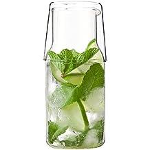 Evilandat Juego de jarra de cristal con vaso junto a la cama