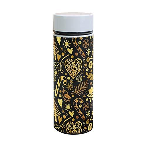 (Thermoskanne mit Weihnachtsmotiv und Baum, Edelstahl, isoliert, für Kinder, Thermosflasche, Vakuum-Becher, 350 ml)