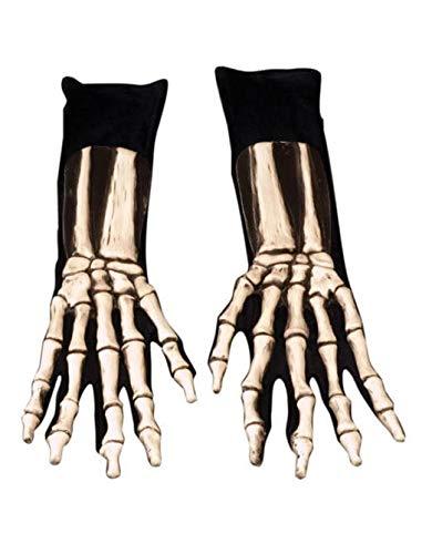 Deluxe Skelett Handschuhe (Skelett Für Erwachsene Kostüm Deluxe)