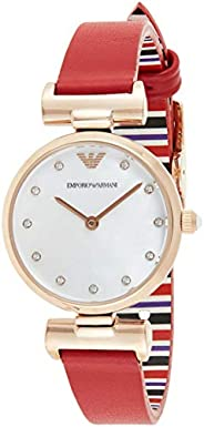 Emporio Armani Women's Mother Of Pearl Dial Leather Analog Watch - AR1