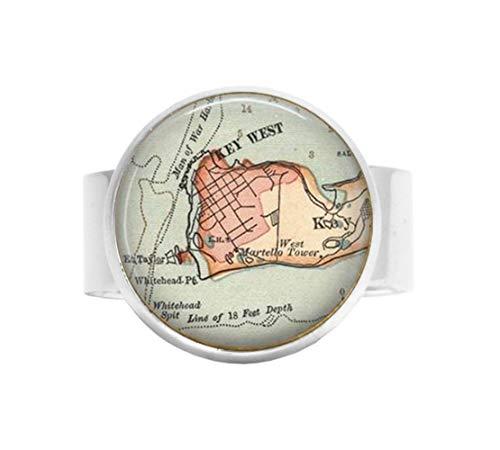qws Retro-Schlüssel-Anhänger West Florida Vintage Map Schmuck - optionaler Kompass Anhänger - Schlüssel West Map verstellbar