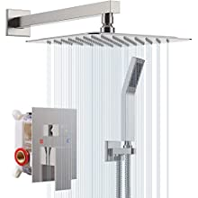 """S R SUNRISE Shower System - Brushed Nickel Bathroom Shower Tap Kit - Advanced Air Injection Technology - 10"""" Square Rain Shower Head - Easy Installation - Eco Friendly"""