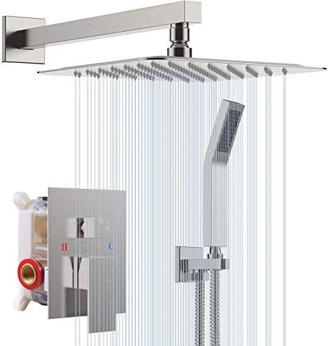 """S R SUNRISE Duschsystem - gebürstetes Nickel-Duschhahn-Set für Badezimmer - hochmoderne Air Injection-Technologie - 12"""" quadratischer Regenduschkopf - einfache Installation - umweltfreundlich"""