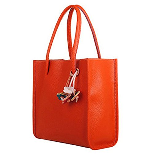 meizu88 Women's Faux Leather Sweet Candy Solid Colors Zipper Shoulder Bag Handbag size 29cm x 27cm x 9cm (Orange)