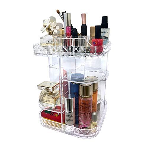 Rotierender Make-up-Organizer für Schlafzimmer, Kommode, Badezimmer, mit einem leisen 360 Grad drehbaren Ständer für einfachen Zugang zu Schmuck und Kosmetik, Acryl-Arbeitsfläche