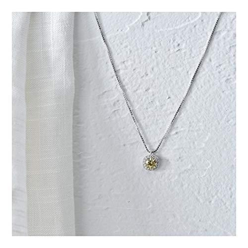 ZUXIANWANG 925 Reine Silber Halskette Lady Schlüsselbein Kette Diamant Anhänger Mode Minimalistischen Japan Und Südkorea, Gelb -