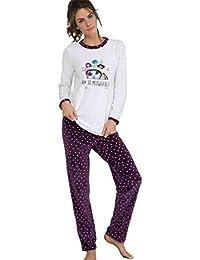MASSANA Pijama de Mujer Estampado Gato P681240 - Morado, L
