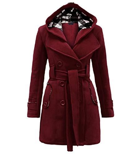 CuteRose Women's Hoode Double-Breasted Classics Parka Jackets Warm PEA Coat Wine Red M
