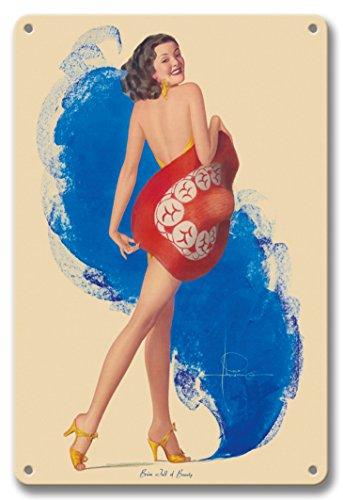 Pacifica Island Art 22cm x 30cm Vintage Metallschild - Streich voller Schönheit - Vintage Retro Ackt-Pin-Up Kalender Seite von Rolf Armstrong c.1937 (Vintage Pin-up-kalender)