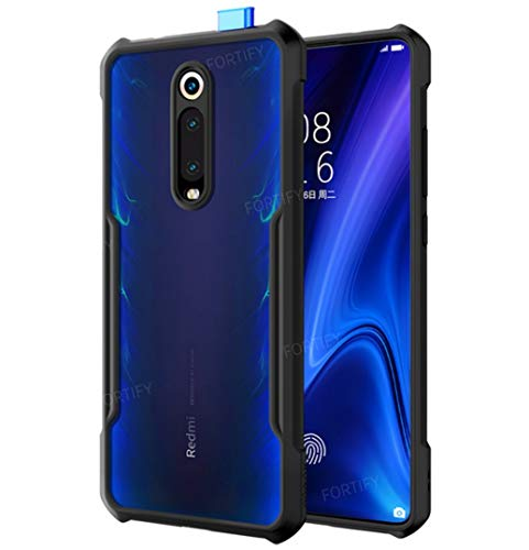 RIGGEAR® Fortify XUNDD Transparent Hybrid Hard PC Back TPU Bumper Impact Resistant MIL-STD 810G Drop Tested Case/Cover for Xiaomi Redmi K20 / Redmi K20 Pro - Black