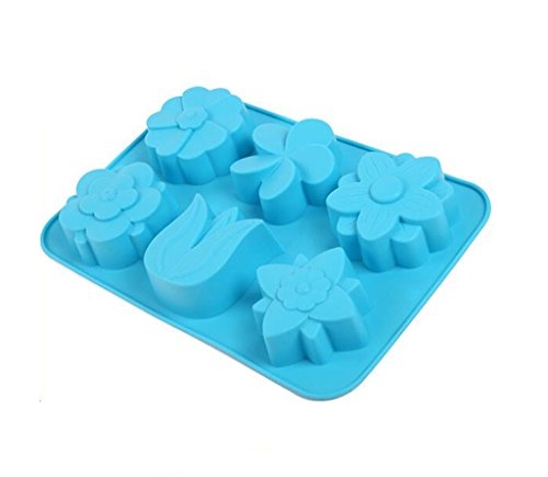 Always Your Chef 6-Cavity Silicone Baking Cake Cups, Candy Molds & Chocolates Molds & Ice Cube Trays, Flowers Shaped, Random Color by Always (Heart Shaped Ice Cube Trays)