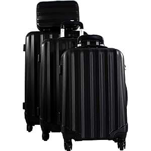 Lot 3 valises dont 1 cabine RYANAIR et vanity DAVID JONES - 4 roulettes - Poignée télescopique - Fermeture éclair