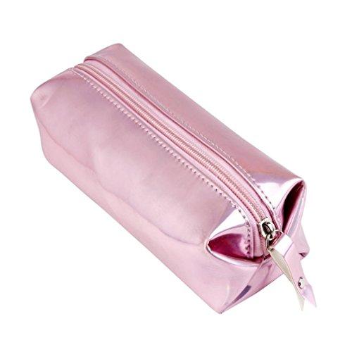HENGSONG Make Up Beutel Pinseltasche Schule Mäppchen Stifttasche Federmäppchen mit Reißverschluss 16 * 11 * 6CM (Rosa) (Make-up-beutel)