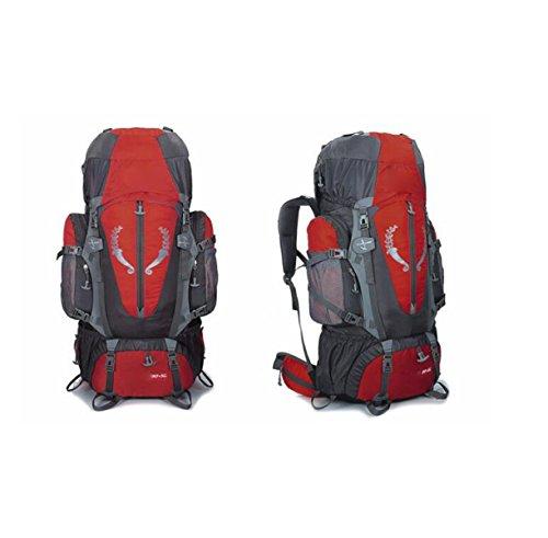 Outdoor-Bergsteigertasche Wasserdichter Atmungsaktiver Großraumrucksack,Black Red